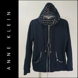 Anne Klein Women Hoodie Full Zip Sweatshirt Blue